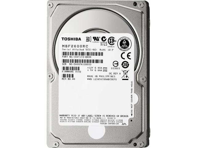 "TOSHIBA MBF2600RC 600GB 10000 RPM 16MB Cache SAS 6Gb/s 2.5"" Enterprise Hard Drive"