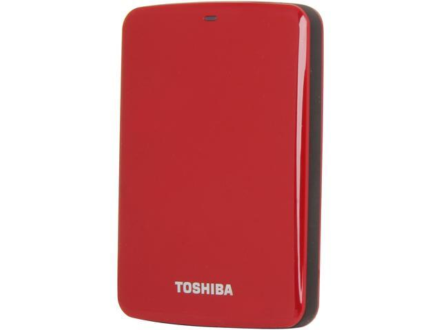 TOSHIBA 750GB Canvio Connect External Hard Drive USB 3.0 Model HDTC707XR3A1 Red