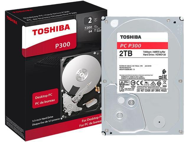 Toshiba P300 2TB PC Desktop Hard Drive 7200 RPM 64MB Cache SATA 6.0Gb/s 3.5 Inch Internal Hard Drive Retail Packaging HDWD120XZSTA