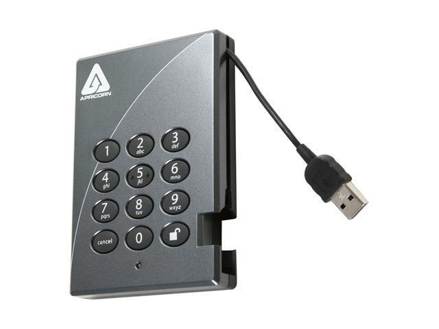 APRICORN 500GB Aegis Padlock Secure 128-bit AES Hardware Encrypted Portable Hard Drive USB 2.0 Model A25-PL128-500