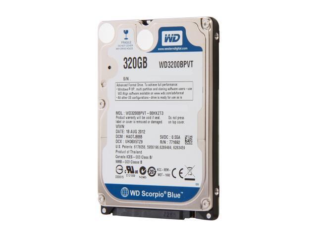 "WD Scorpio Blue WD3200BPVT 320GB 5400 RPM 8MB Cache SATA 3.0Gb/s 2.5"" Internal Notebook Hard Drive -Manufacture Recertified ..."
