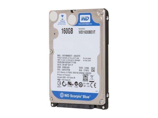"Refurbished: Western Digital Scorpio Blue WD1600BEVT 160GB 5400 RPM 8MB Cache SATA 3.0Gb/s 2.5"" Internal Notebook Hard Drive Bare Drive"