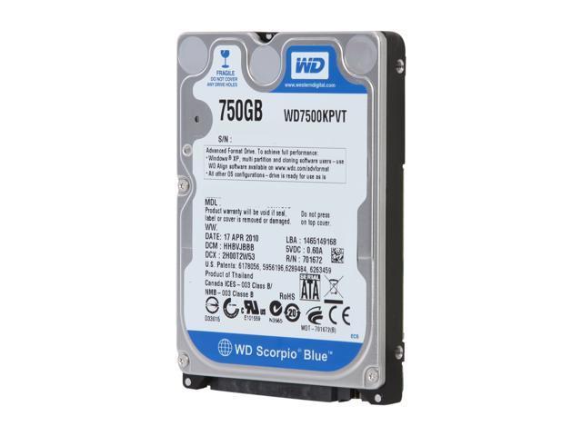 WD Scorpio Blue WD7500KPVT 750GB 5200 RPM 8MB Cache SATA 3.0Gb/s 2.5