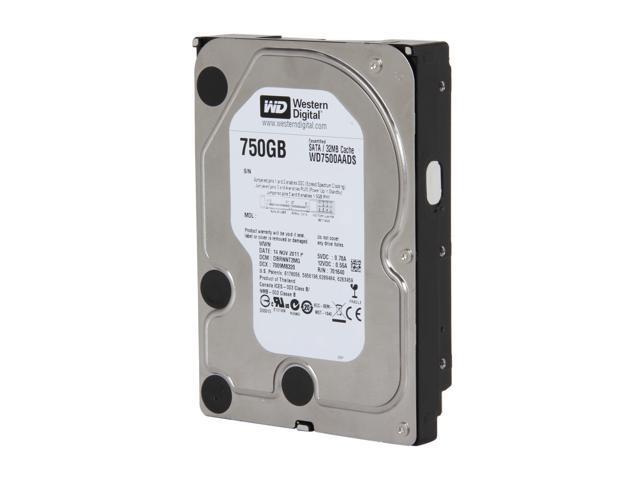 "WD WD Green WD7500AADS-FR 750GB IntelliPower 32MB Cache SATA 3.0Gb/s 3.5"" Hard Drive Bare Drive"