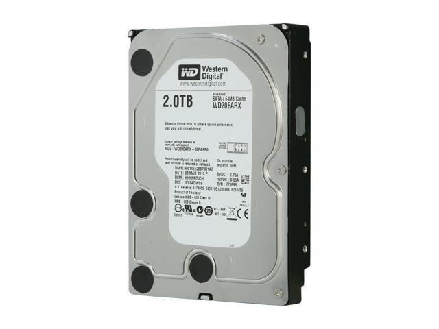 WD WD Green WD20EARX 2TB IntelliPower 64MB Cache SATA 6.0Gb/s 3.5