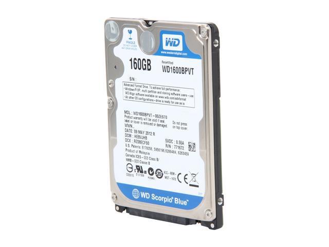 WD Scorpio Blue WD1600BPVT 160GB 5400 RPM 8MB Cache SATA 3.0Gb/s 2.5