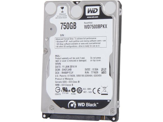 "WD BLACK SERIES WD7500BPKX 750GB 7200 RPM 16MB Cache SATA 6.0Gb/s 2.5"" Internal Notebook Hard Drive Bare Drive"