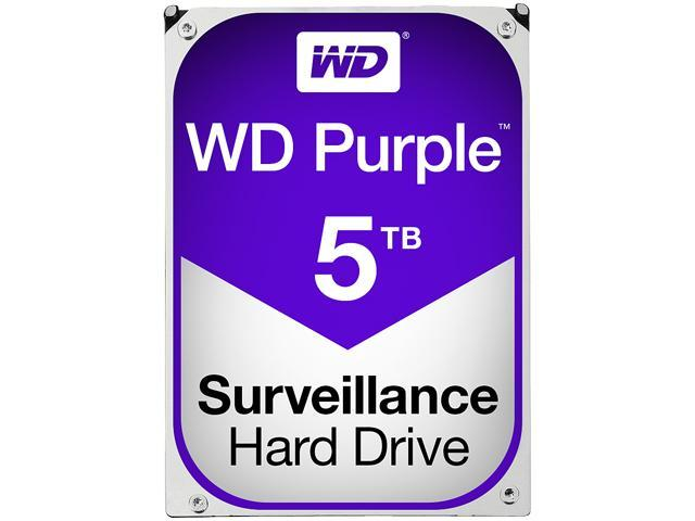"WD Purple WD50PURX 5TB 5400 RPM 64MB Cache SATA 6.0Gb/s 3.5"" Internal Surveillance Hard Drive Bare Drive"