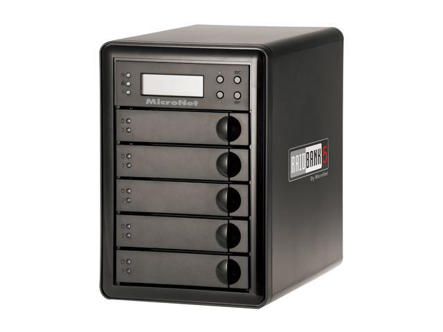 Fantom Drives by Micronet RAIDBank5 15TB eSATA / USB3.0 / 1394a / 1394b Tower Quad, Desktop Hardware RAID includes PCI-E USB 3.0 HBA RB5-15000 Black