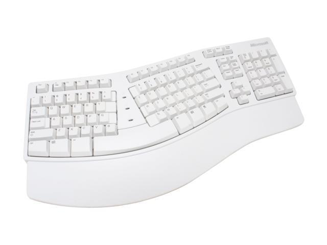 Microsoft A13-00002S White 104 Normal Keys USB or PS/2 Ergonomic Natural Keyboard Elite - OEM