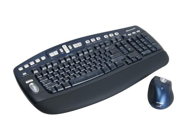 Microsoft M54-00013 Black/Blue 102 Normal Keys 25 Function keys + Tilt Wheel Function Keys USB Bluetooth Wireless Standard Optical Desktop Elite for Bluetooth Mouse Included