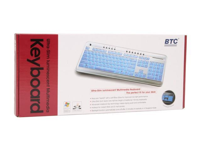 BTC 6300CL Silver 104 Normal Keys 13 Function Keys USB Slim Luminescent Multimedia Keyboard