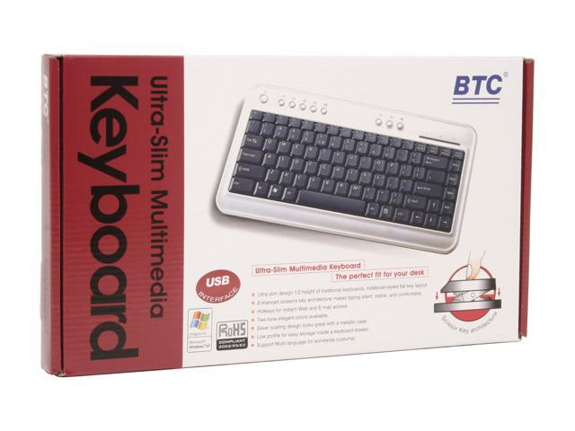 BTC 6100C Silver & Black 86 Normal Keys 9 Function Keys USB Ultra Slim Multimedia Keyboard