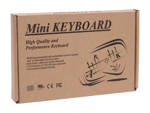 SolidTek KB-595BP Black 88 Normal Keys PS/2 Wired Mini Keyboard