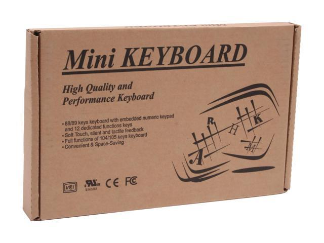 SolidTek KB-595BU Black 88 Normal Keys USB Wired Mini Keyboard