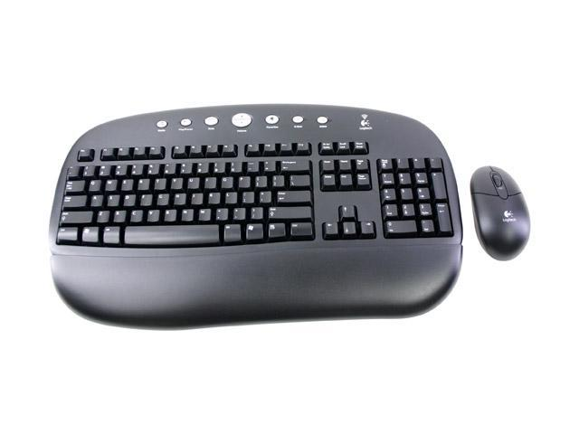 Logitech 967437-0403 Black 104 Normal Keys 7 Function Keys Cordless Desktop Standard Keyboard and Optical Mouse