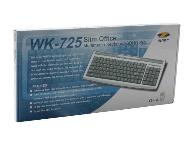 ZIPPY WK-725 Silver/Black 104 Normal Keys 18 Function Keys USB Wired Super Slim Office Multimedia Keyboard