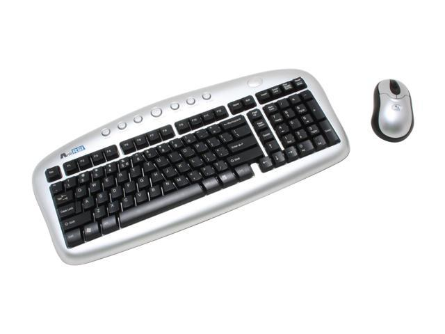 A4Tech KBS-6357RP 2-Tone 103 Normal Keys 7 Function Keys RF Wireless Ergonomic Mini Desktop Keyboard & Mouse