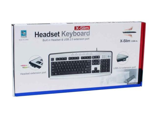 A4Tech KL-23MU Black and Silver 104 Normal Keys 6 Function Keys PS/2 Standard Built-in USB2.0 Hub & MIC+Audio Jack Multimedia Keyboard
