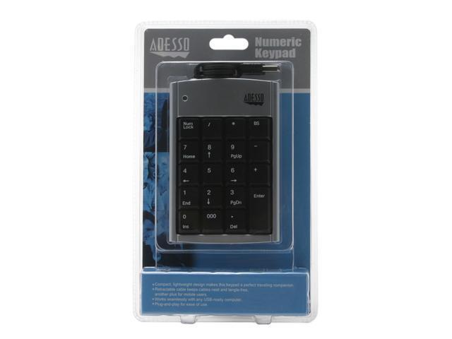 ADESSO AKP-150 Black/Silver 19 Normal Keys USB Slim Numeric Keypad with Retractable Cord