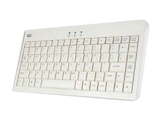 ADESSO EasyTouch 110 AKB-110W White 87 Normal Keys USB or PS/2 Wired Mini Keyboard
