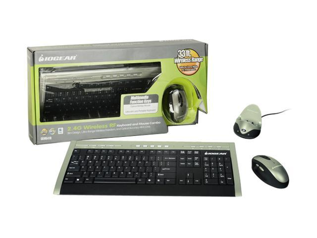 IOGEAR GKM541RA Silver/Black 104 Normal Keys 13 Function Keys RF Wireless Slim Keyboard & Mouse Combo