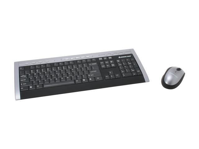 IOGEAR GKM531RA Silver/Black 104 Normal Keys 13 Function Keys 27MHz Wireless Slim Keyboard and Mouse