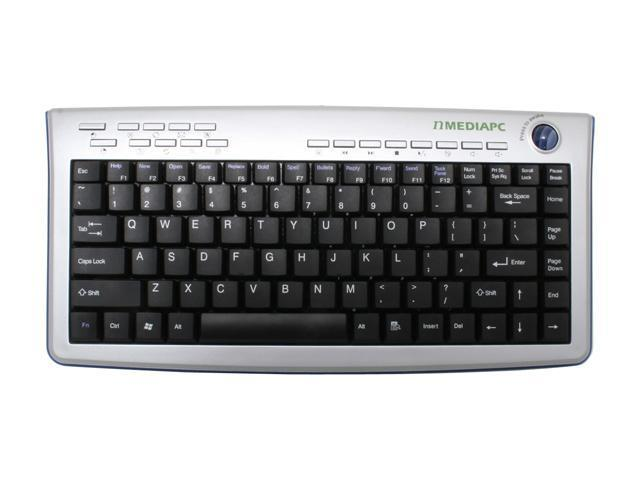 nMEDIAPC MCESKB Silver & Black 87 Normal Keys 18 Function Keys RF Wireless Slim Keyboard with Track Ball