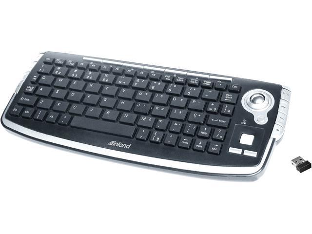 inland 2.4G wireless keyboard with trackball 70142 Black USB RF Wireless Mini Keyboard