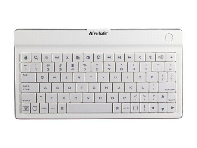 Verbatim 97754 White Bluetooth Wireless Slim Keyboard for iPhone, iPod Touch, iPad, iPad2 and Other Tablets