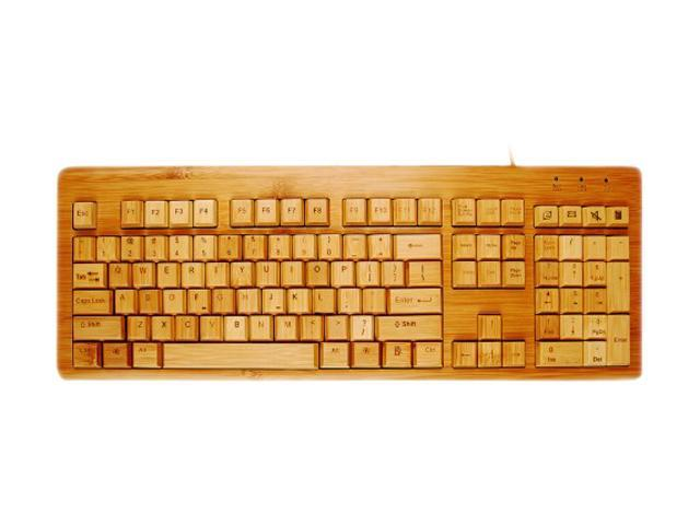 Impecca KBB500C USB Wired Standard Bamboo Custom Carved Designer Keyboard and Mouse Combo