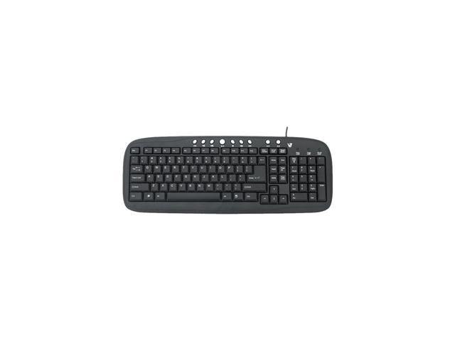 V7 KM0B1-6N6 Black USB Wired Standard Multimedia Keyboard