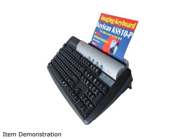 KeyScan Imaging Keyboard Scanner KS810-P Black USB Wired Standard Keyboard with built in USB 2.0 Hub and Integrated Color ...