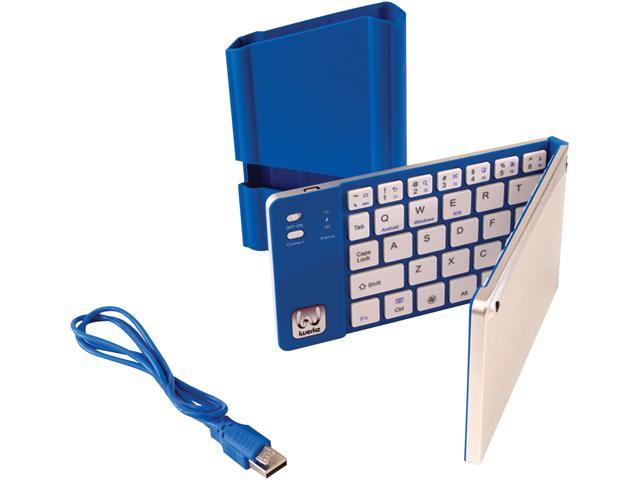 iwerkz 44652BL Blue USB Bluetooth Wireless Mini Universal Foldable Keyboard