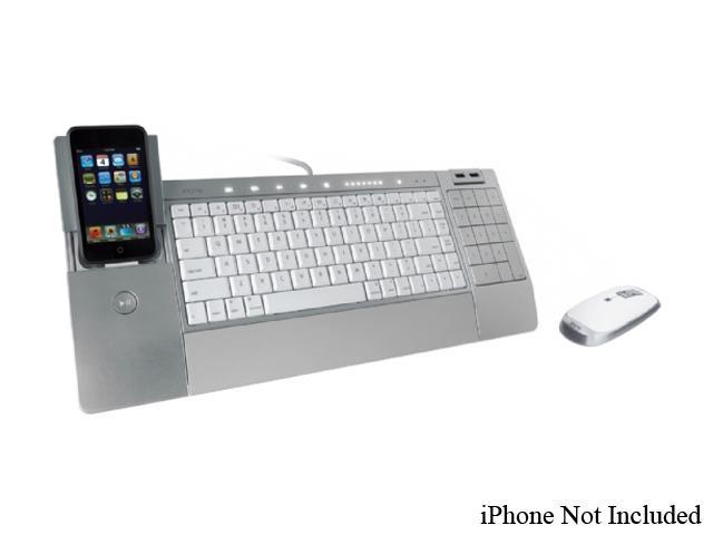 iHome iConnect Media Keyboard & Wireless Laser Mouse With iPod Dock (Silver) Model IH-K236LS