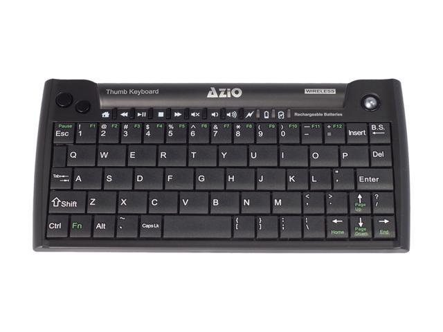 AZIO Mini Thumb Keyboard w/ Trackball KB178RT Black RF Wireless Keyboard