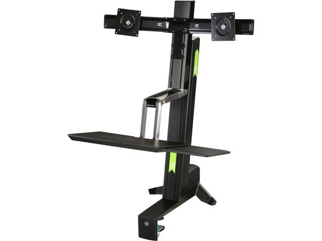 Ergotron 33-341-200 Black WorkFit-S, Dual Monitor Sit-Stand Workstation, Height-Adjustment Column, Desk Clamp, keyboard Tray with Left/ Right Mouse Tray