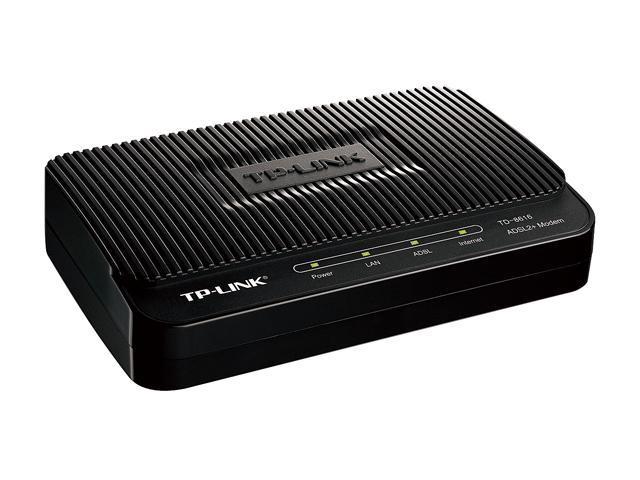 TP-LINK TD-8616 ADSL2+ Modem Up to 24Mbps downstream ADSL/ADSL2/ADSL2+ Standards 1 x RJ11 Port, 1 x RJ45