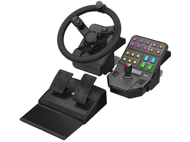 Saitek SCB432160002/01/1 Farming Simulator Wheel, Pedals, and Vehicle Side Panel Bundle for PC