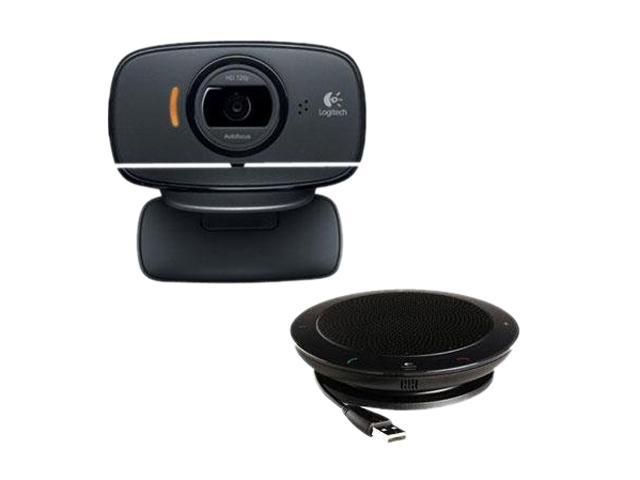 Logitech B525 2.0 M Effective Pixels USB 2.0 HD WebCam & BSP420 USB Speakerphone Bundle