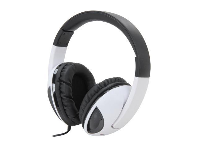 Syba OG-AUD63039 Cobra Circumaural Massive 50mm Driver Audio Headphones w/ In-Line Microphone (White)