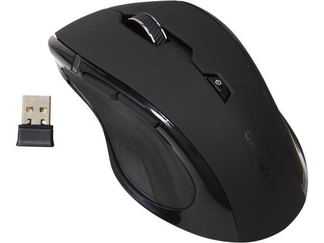 GIGABYTE AIRE M73 GM-AIRE M73 Elegant Matt Black 5 Buttons 1 x Wheel USB RF Wireless Optical Mouse