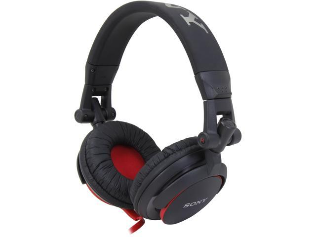 Sony MDRV55 Extra Bass & DJ Headphones, Black/Red