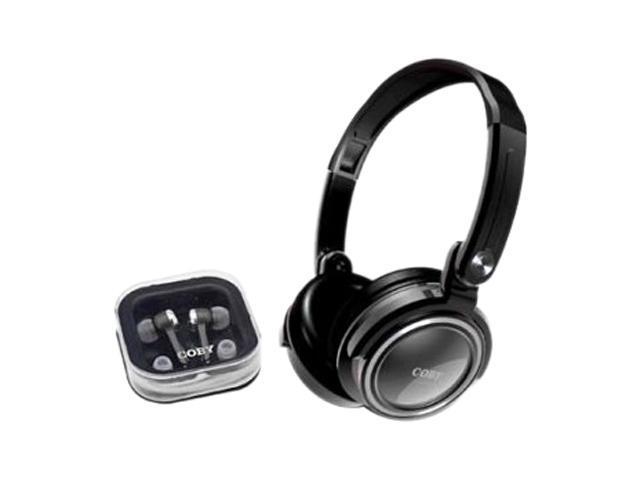 COBY CV215SVR 3.5mm Connector Circumaural & Earbud 2 in 1 Combo Deep Bass Stereo Headphones & Earphones