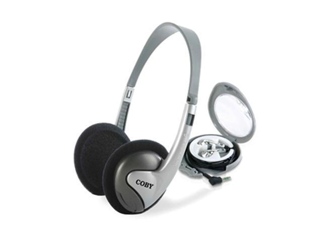 COBY CVH89 3.5mm Connector Supra-aural 2-in-1 Combo Lightweight Stereo Headphones and Earphones CVH89 (Silver)