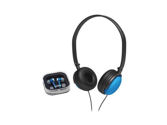 COBY CV140BLU DJ Headphone: On-Ear  Earphone: In-Ear 2-in-1 Combo DJ Style Stereo Headphone & Earphone (Blue)