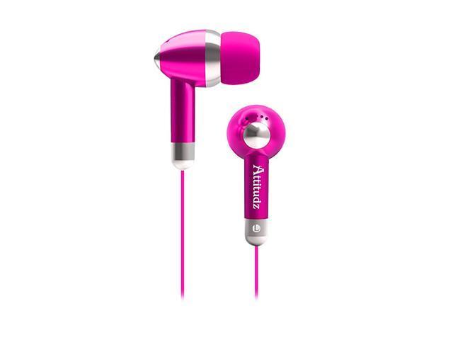 COBY Pink CVE53PNK Earbud Attitudz Isolation Stereo Earphones, Pink