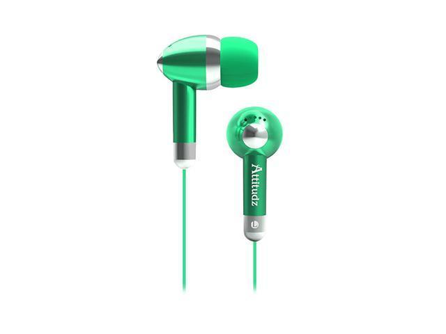 COBY Green CVE53GRN Earbud Attitudz Isolation Stereo Earphones, Green