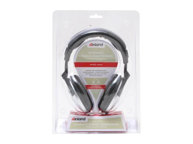 inland 87050 3.5mm Connector Circumaural Dynamic Stereo Headphone with Volume Control