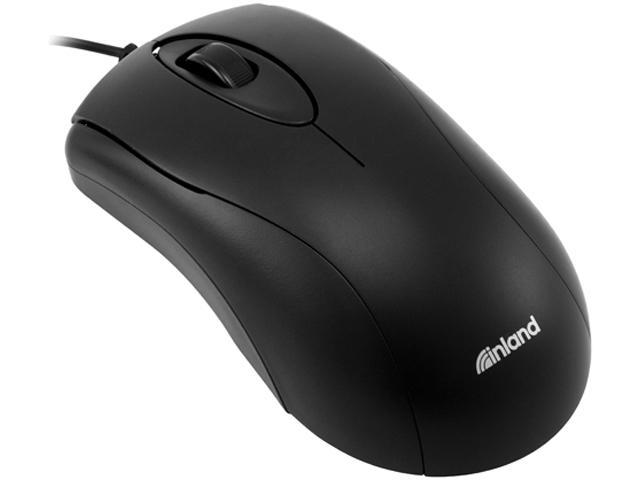 inland 07233 Black 3 Buttons 1 x Wheel USB Wired Optical Mouse
